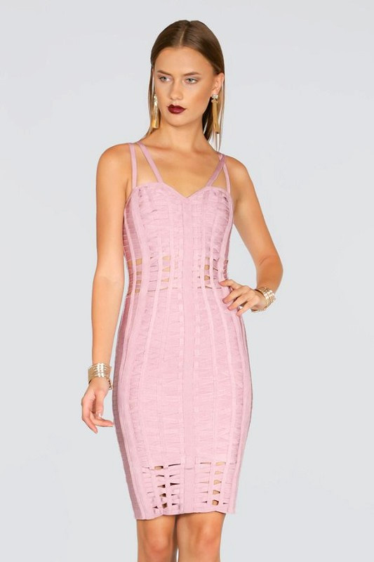 Lavita Strappy Cut-Out Blush Bandage Dress donnards.com