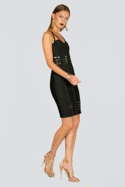 Lavita Strappy Cut-Out Black Bandage Dress donnards.com