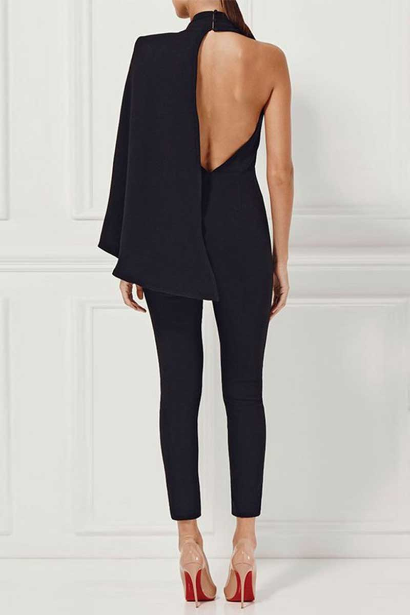 New Brizaa Deep V Neck Cape Sleeve Runway Black Jumpsuit Donnards