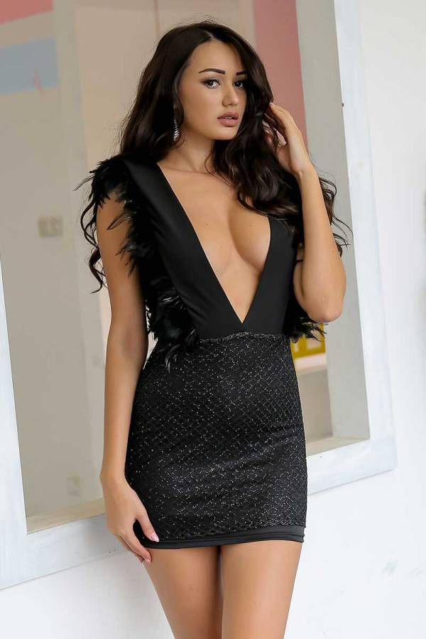 Women Evening Party Feather Deep V Neck Sleeveless Sequins Mini Pencil Dress