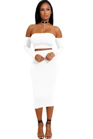 Simplicity Bandage two-piece white skirt set