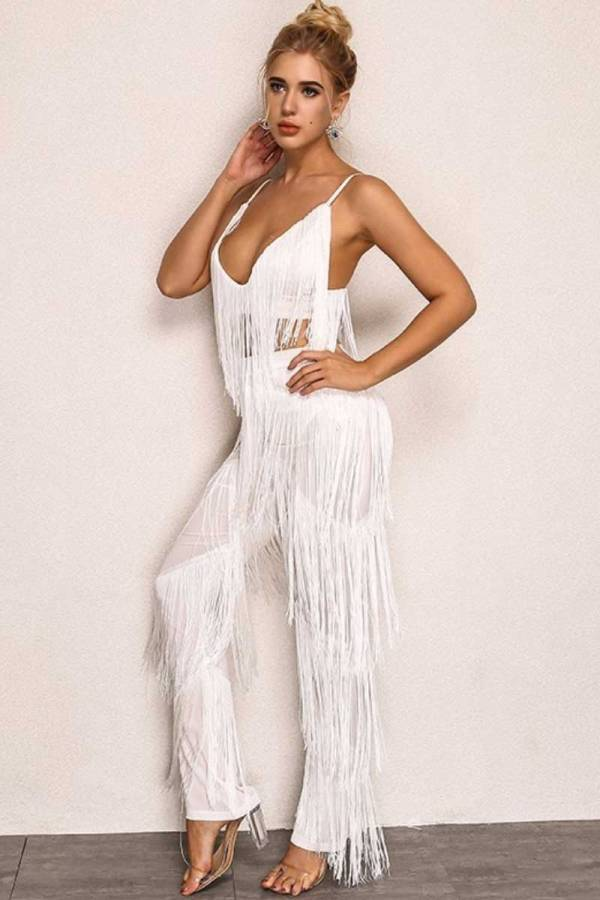 Mesmerizing Tassel 2pc White pants set 00