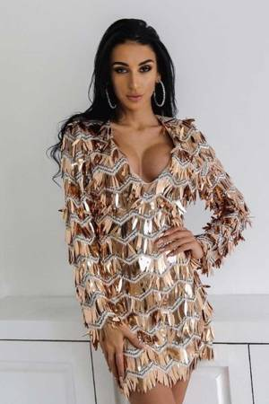Narcissistic Shimmery Tassel Sequin Elegant Evening V-Neck Gold Dress