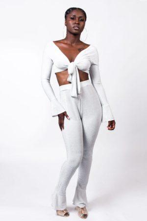 Perfect Bae Lurex Pants Set White @model.bihh