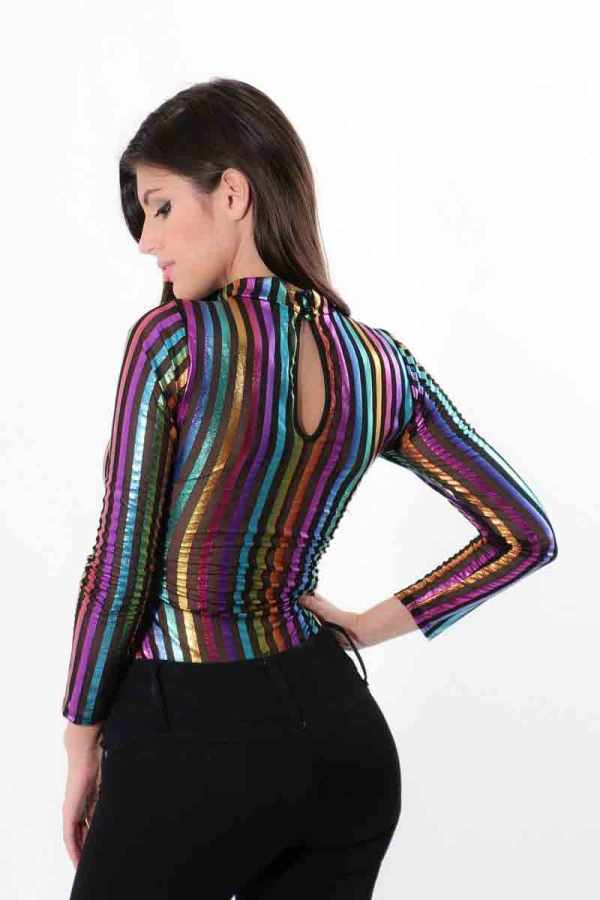 Over The Rainbow Sheer Striped Bodysuit