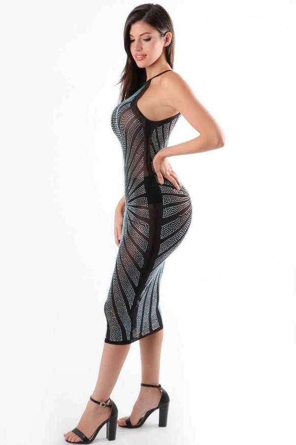 Sheer Decadence Brilliant Crystal Rhinestone Midi Bodycon Dress