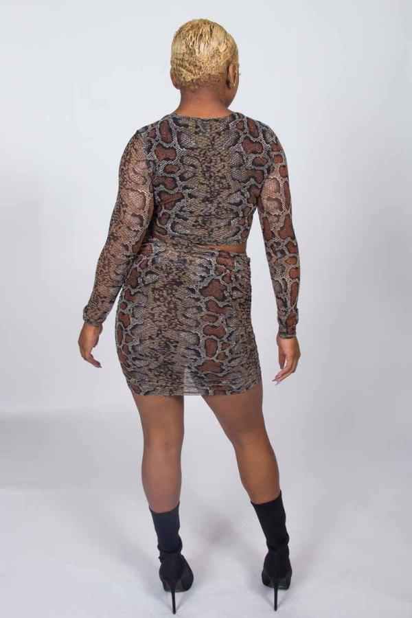 Snake Out Snake Skin Print Skirt Set