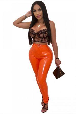 Symbiotic orange Liquid Latex Faux Leather High Waist Skinny Pants