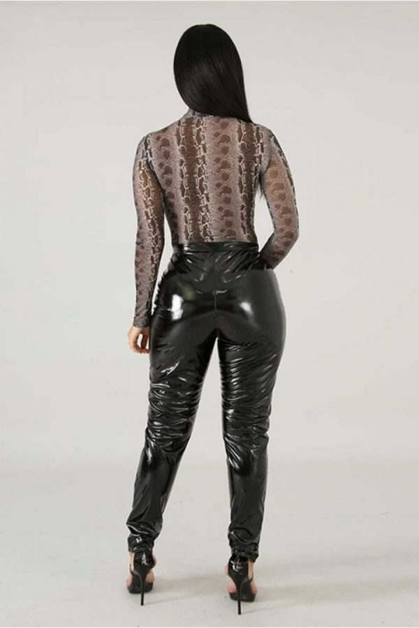Symbiotic black Liquid Latex Faux Leather High Waist Skinny Pants