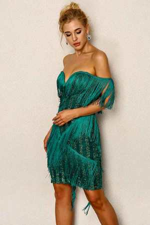 Enjoy The Night Tassel Hunter Green Dress