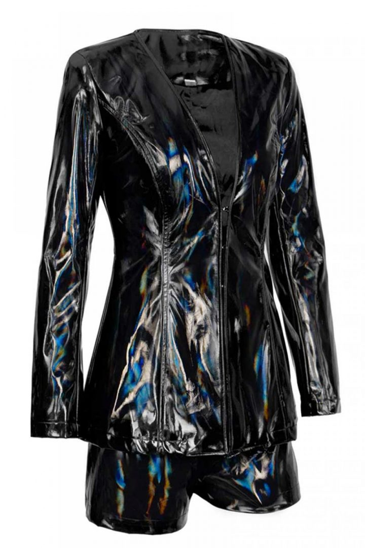 Slick Wit It Liquid Latex Faux Leather Shorts and Jacket