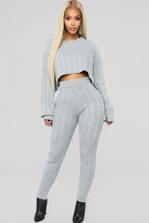 Fawn Over Cable Knit Suit Pullover Tops High-Waist Pants 2-Piece Set