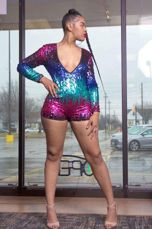 Dayonce Deep V Neck Glitter Sequin Romper