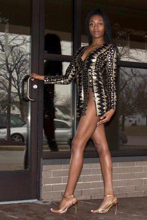Melahni Deep V Neck Long Sleeve Gold Sequin Bodycon Dress 03