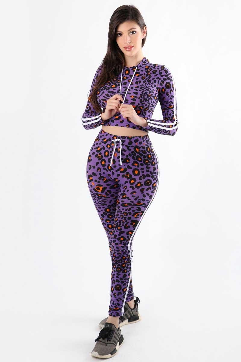 I Dare You Cheetah Print Purple Hoodie 2PC Jumpsuit