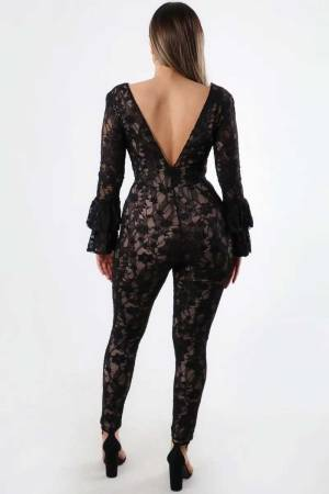 Proceed With Caution Lace Deep V Black Jumpsuit