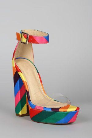 Clear Open Toe Striped Platform Chunky Heel