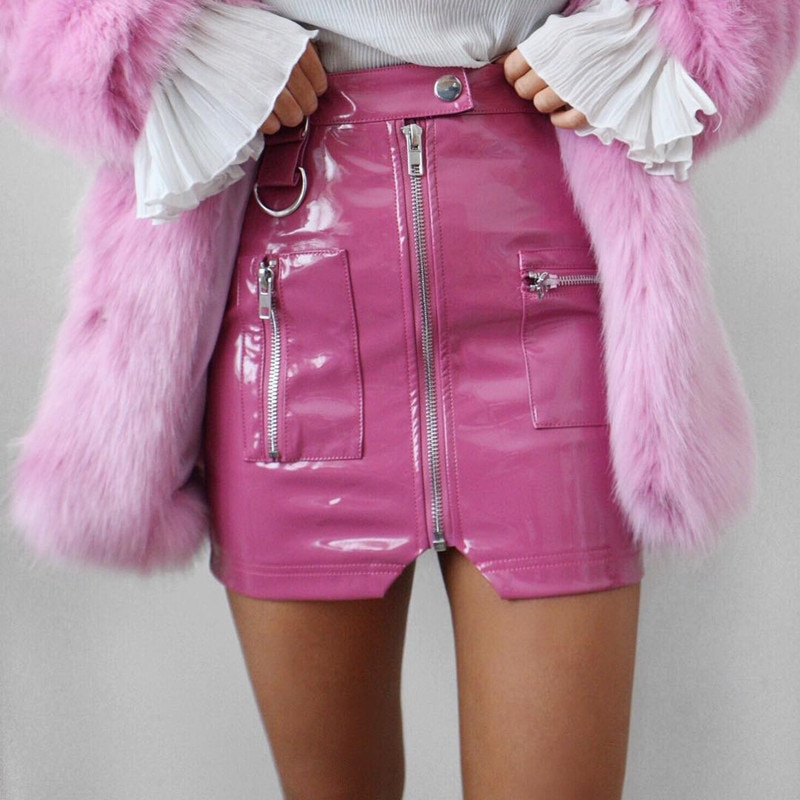 Maddie Pink Zip Faux Leather Skirt