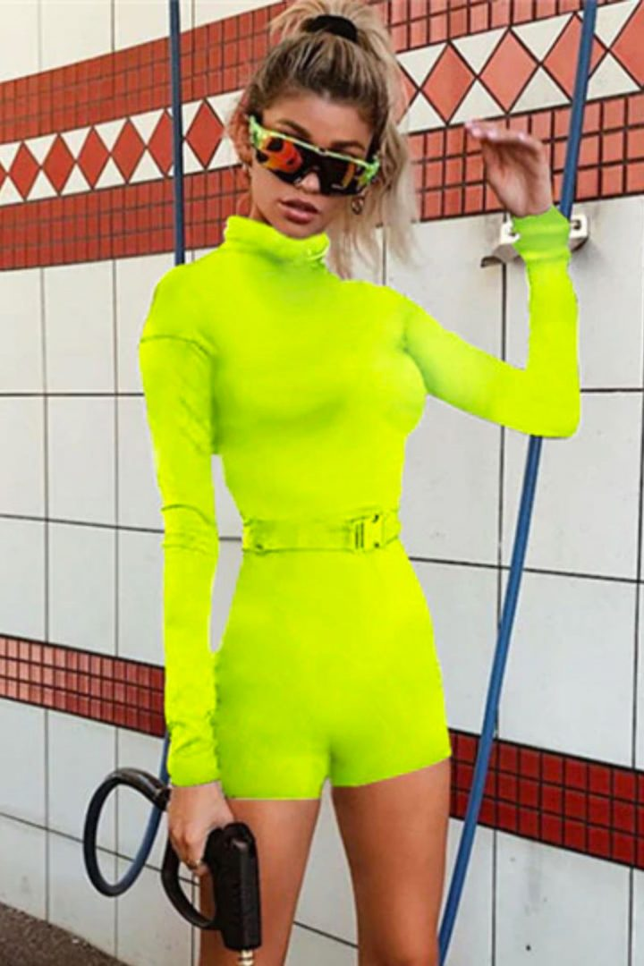 Neon Green Belted Long Sleeve Play Romper