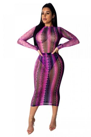 Nice body sheer mesh snake skin midi dress