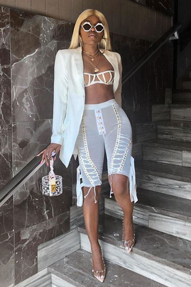 wo-Piece Hollow Out Bandage Suit shorts white