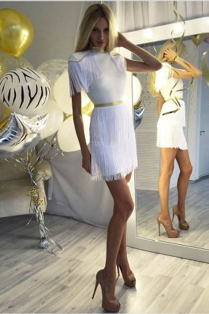 Modern Tassel Metal Fringe Dress