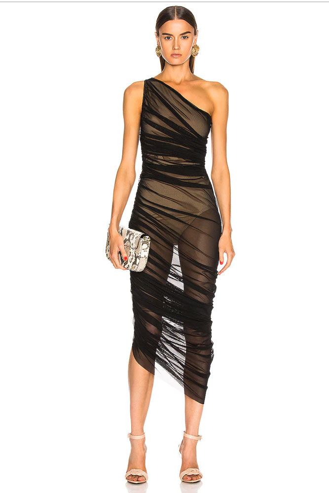 Sexy Mesh Rouched Sheer Dress