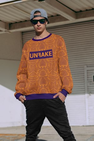 UNFAKE Originals ® by Donnard's Python Snake Print Unisex Sweatshirt An original DONNARD'S design featuring an allover Python snake print sweatshirt