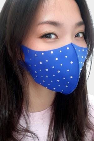 fashion face mask with rhinestone royal