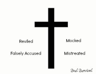 simple cross Jesus mistreated mocked
