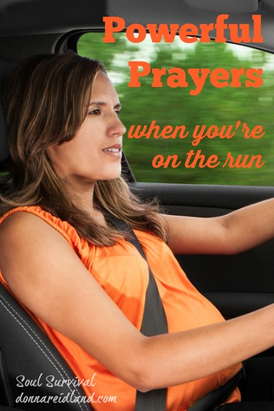 "Powerful Prayers When You're on the Run - How much of that time is waiting? Waiting for kids or at the drive-through bank? Waiting in traffic?Why not fill those lost moments with ""little"" prayers?"