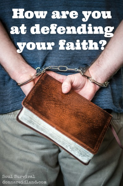 "How are you at defending your faith? - How are you at defending the faith and what you say you believe? Do you ever pretend you're not a believer because it's inconvenient or embarrassing? Have you ever said my faith is a ""personal thing"" when you had an opportunity to ""give a reason for the hope that is in you"" (1 Pet. 3.15)? Do you ever hold back when it would mean taking a stand or speaking up? I know I have."