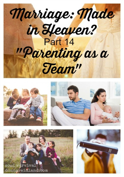 "Marriage: Made in Heaven? Part 14 ""Parenting as a Team"" - Many people consider parenting to be the mother's job and, even if they believe both parents need to be involved, mom often ends up with most of the responsibility. But parenting isn't a one-person job. God intends for moms and dads to parent as a team."