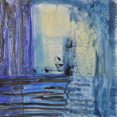 """Into Blue,"" Oil on Board, 8""x8"""