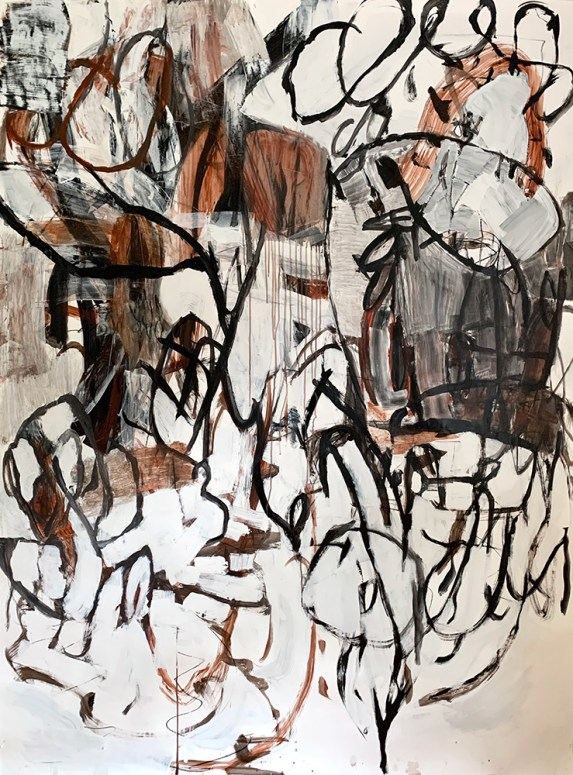 """""""Rhythm and Movement,"""" 2020, Mixed Media on Paper, 72""""x52"""""""
