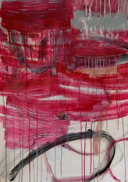 """""""Winter Red,"""" 2020, Mixed Media on Paper, 36""""x25"""""""