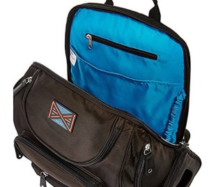 travel backpack with blue lining