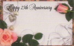 Happy 25th Anniversary - roses & hearts