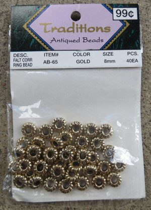 Gold Flat Corrugated Ring Beads