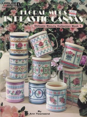 Floral Mugs in Plastic Canvas