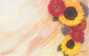 Floral Enclosure Card - sunflowers & daisies