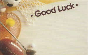 Good Luck floral enclosure card - sports