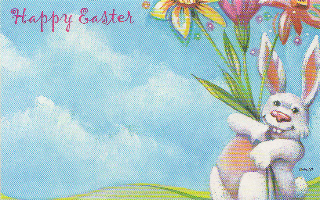 7d4a2b10be06 HAPPY EASTER - Floral Enclosure Card w/ Easter Bunny, Egg & Flowers