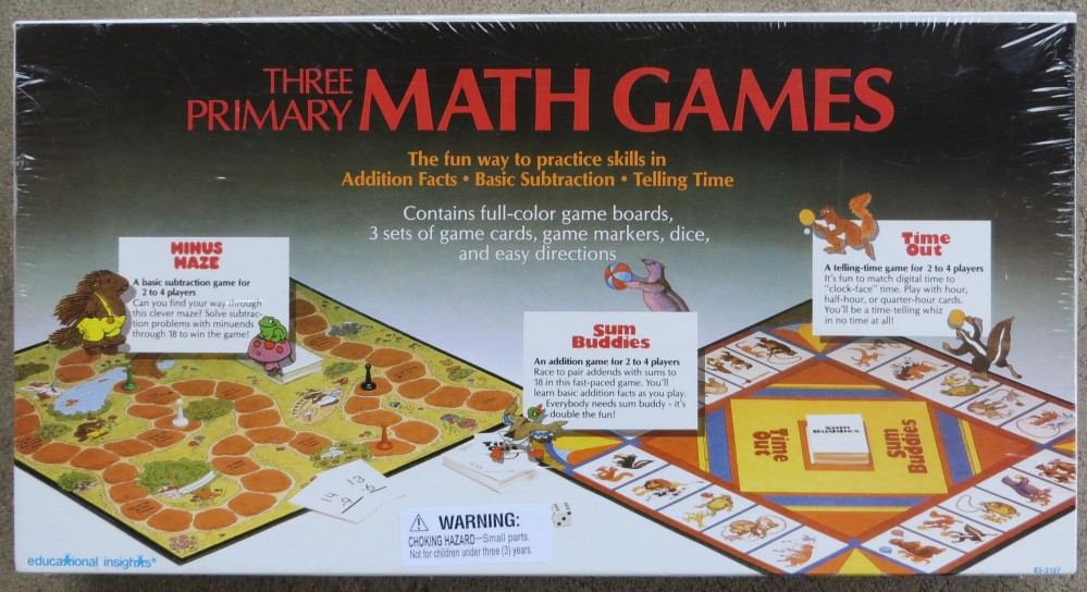 THREE PRIMARY MATH GAMES - Addition, Subtraction, Telling Time