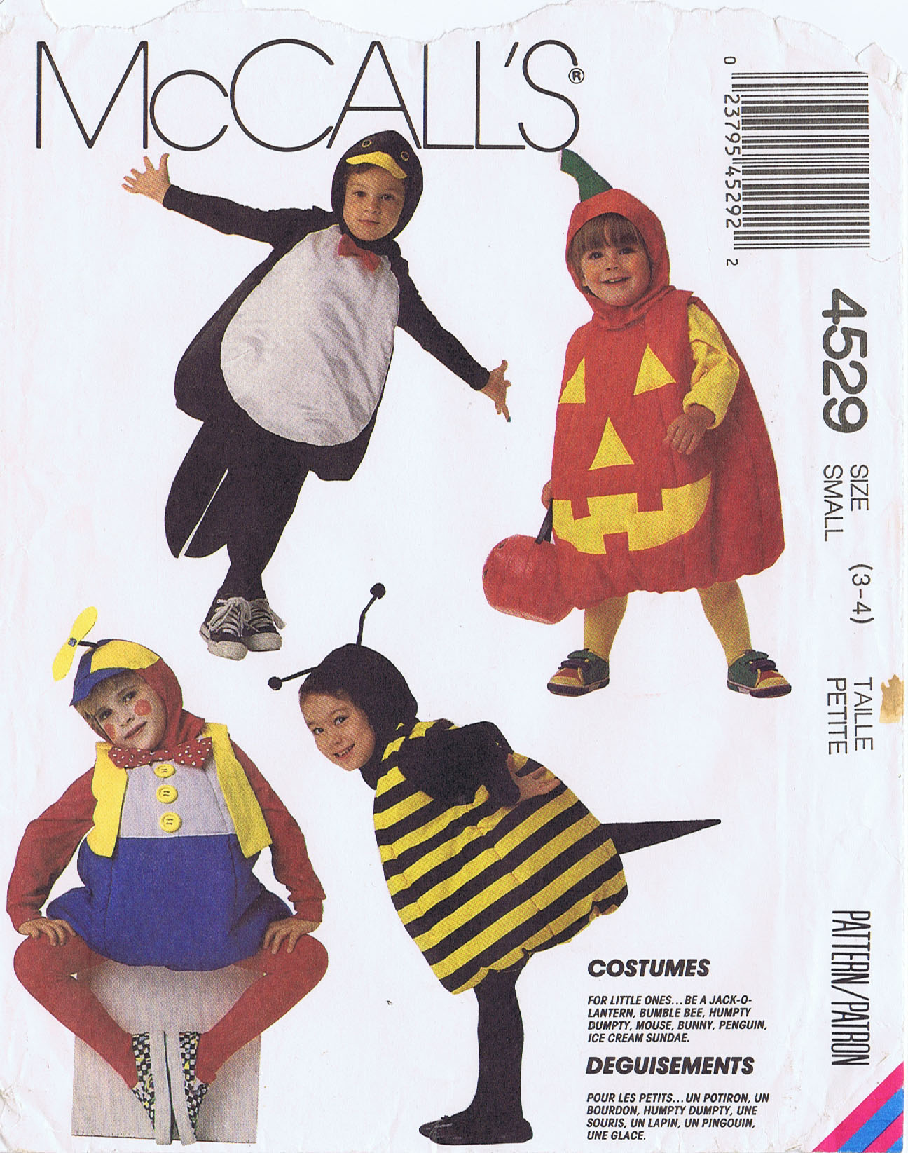 Penguin Bee Humpty Dumpty Pumpkin Mouse Mccalls 4529