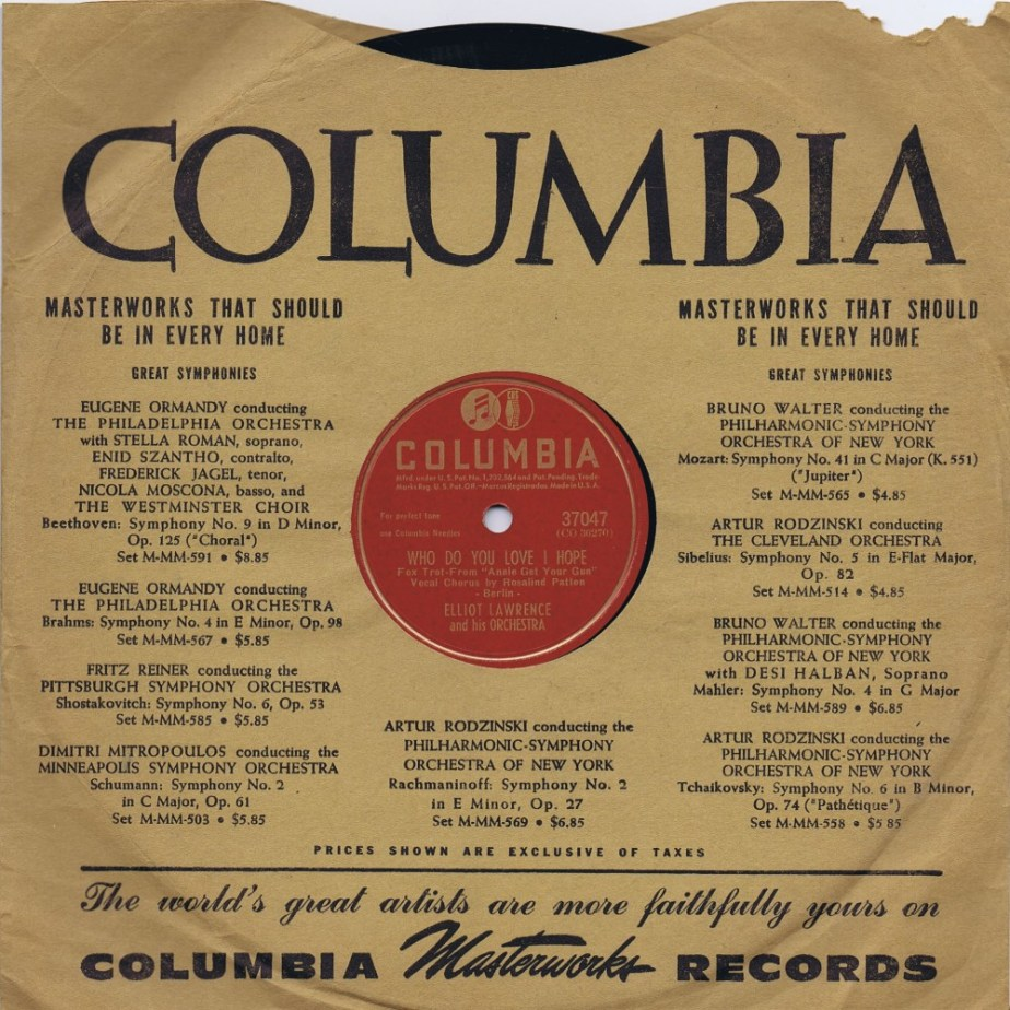 WHO DO YOU LOVE I HOPE & I KNOW - Elliot Lawrence, Columbia 37047, 78 RPM