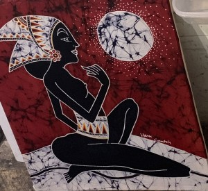 The Red Maiden, batik painting by an experienced artist.