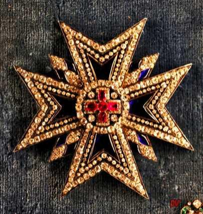 Onoreficenze con diamanti, rubini e smalto blu dell'Ordine di San Giorgio