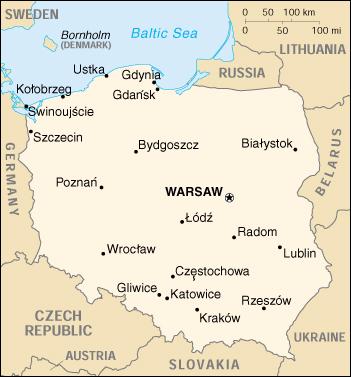 Cartina della Polonia con localizzazione di Varsavia