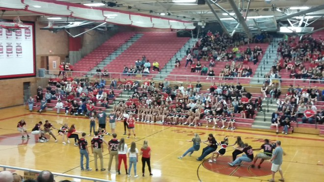 This is the junior vs. senior Tug-of-War competition! Everyone was really competitive, but having fun!